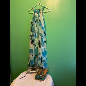 Aqua green and blue High low sleeveless dress